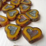 ETCHED HEART BEAD