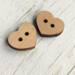 WOODEN HEART BUTTON